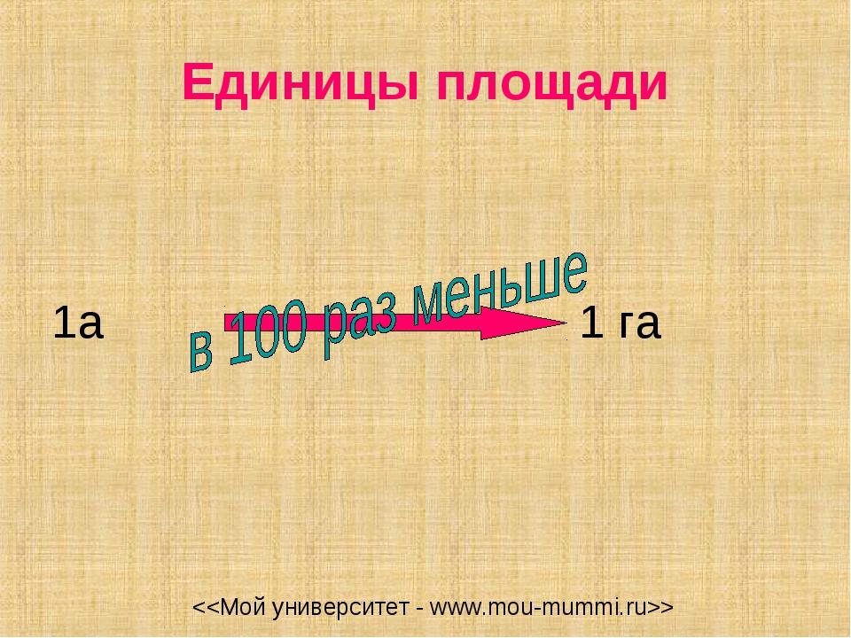 Единицы площади 1а 1 га