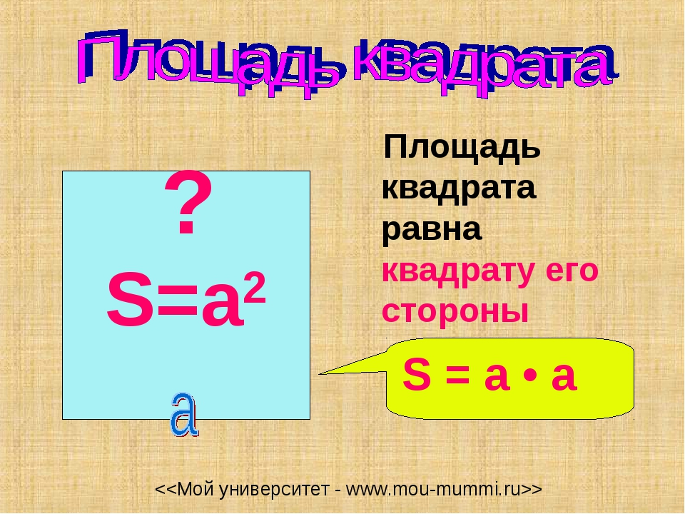 Площадь квадрата равна квадрату его стороны S=a2 S = a • а ?