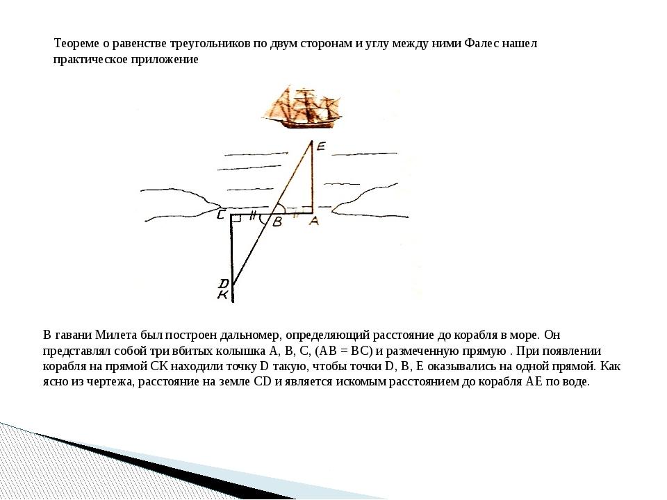 Теореме о равенстве треугольников по двум сторонам и углу между ними Фалес на...