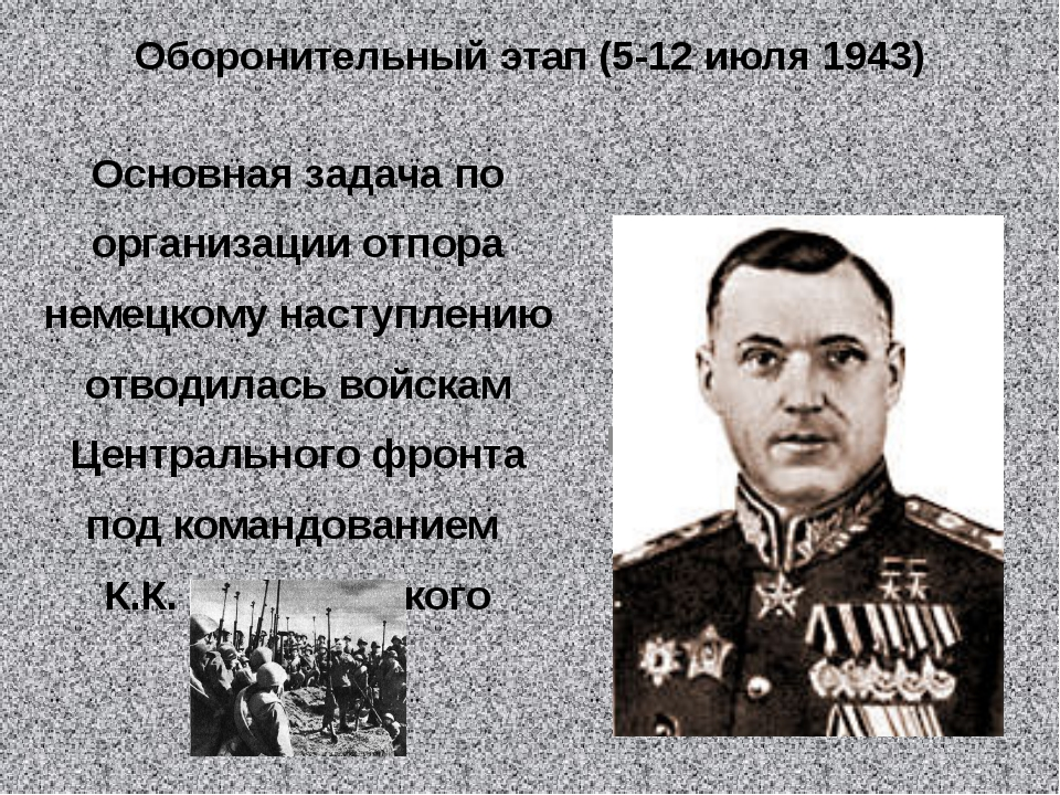 Оборонительный этап (5-12 июля 1943) Основная задача по организации отпора не...