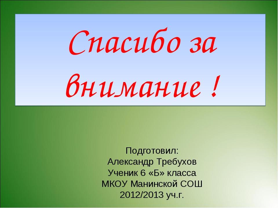 Спасибо за внимание ! Подготовил: Александр Требухов Ученик 6 «Б» класса МКОУ...