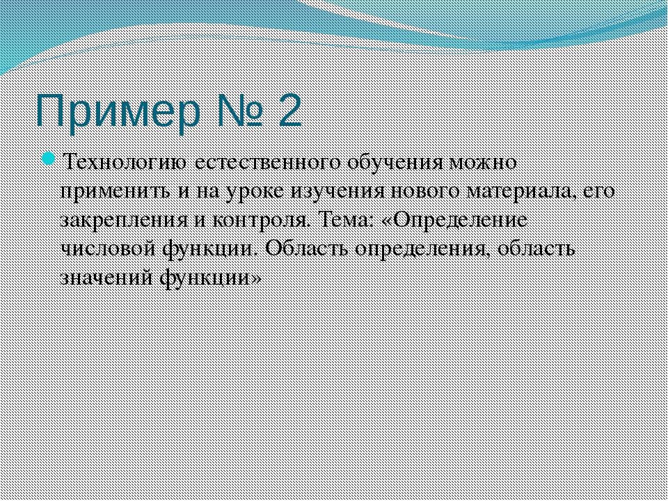 Пример № 2 Технологию естественного обучения можно применить и на уроке изуче...