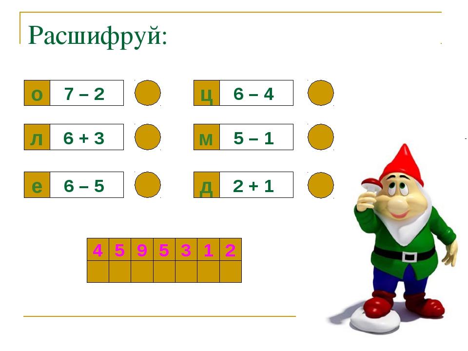 Расшифруй: о 7 – 2 л е д м ц 6 + 3 6 – 5 2 + 1 5 – 1 6 – 4 4 5 9 5 3 1 2