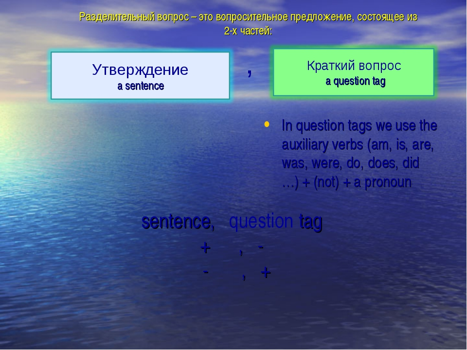 In question tags we use the auxiliary verbs (am, is, are, was, were, do, does...