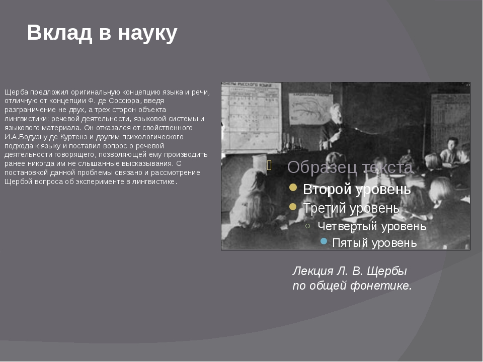 Вклад в науку Щерба предложил оригинальную концепцию языка и речи, отличную о...