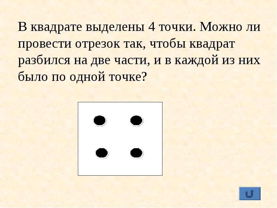 В квадрате выделены 4 точки. Можно ли провести отрезок так, чтобы квадрат раз...