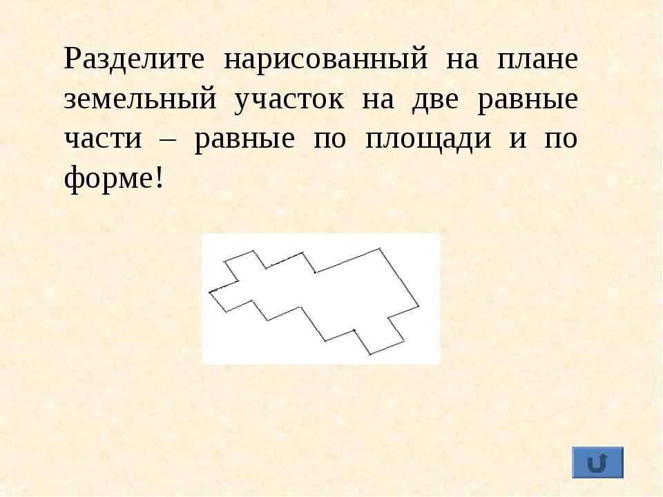 Разделите нарисованный на плане земельный участок на две равные части – равны...