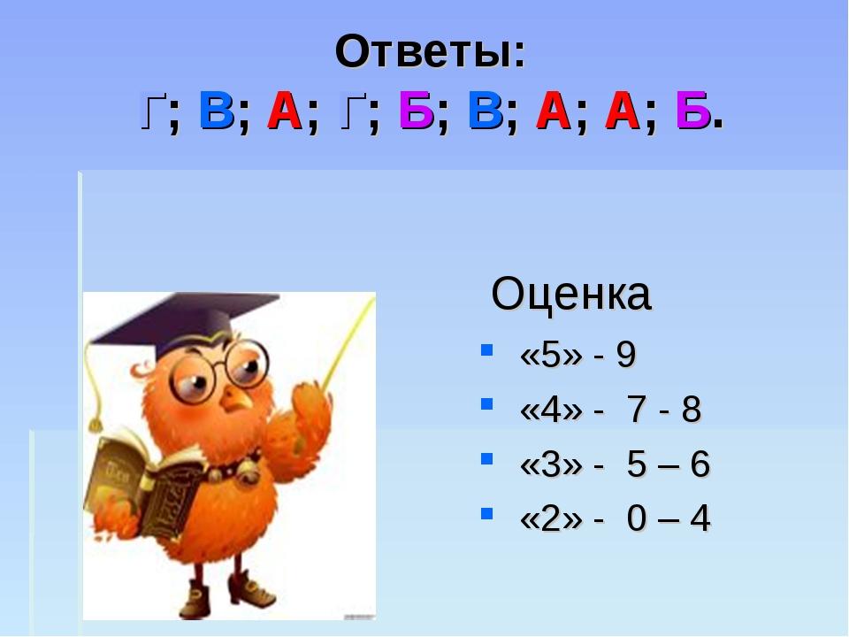 Ответы: Г; В; А; Г; Б; В; А; А; Б. Оценка «5» - 9 «4» - 7 - 8 «3» - 5 – 6 «2»...