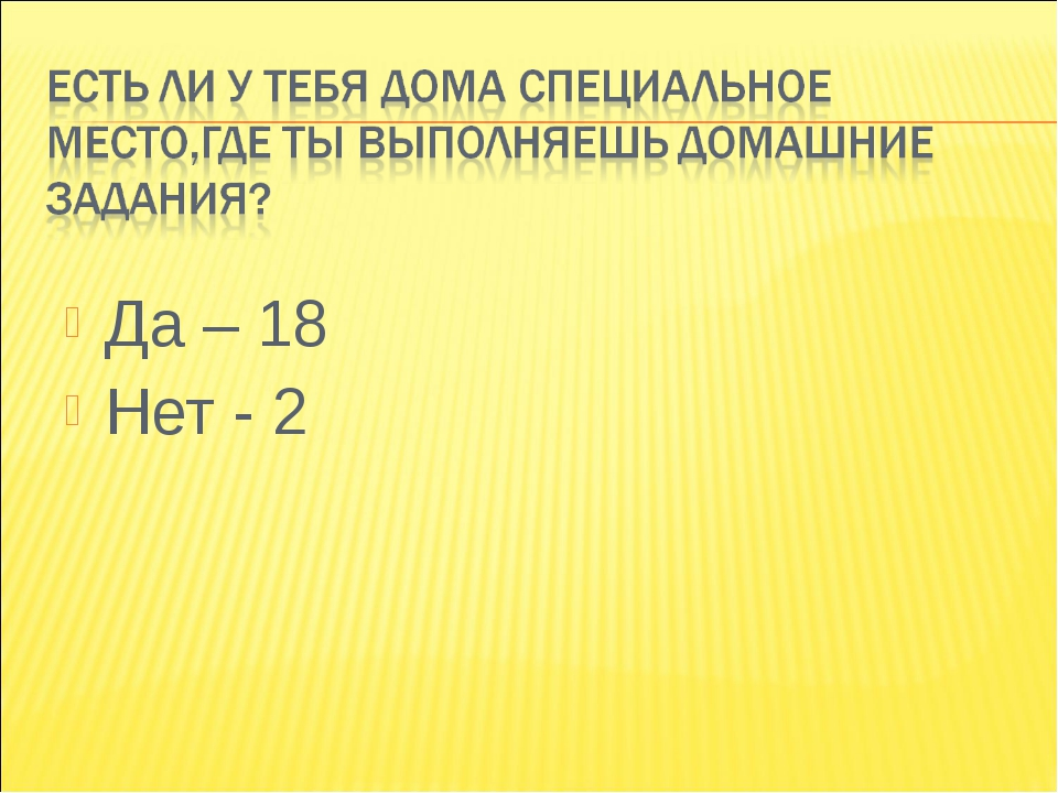 Да – 18 Нет - 2