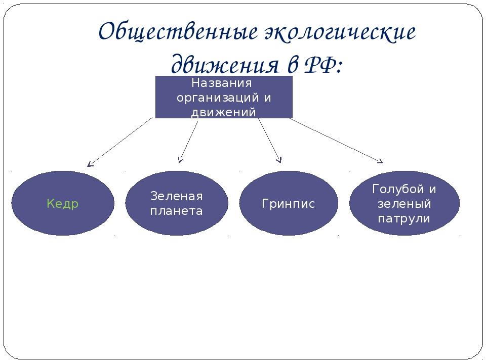 Общественные экологические движения в РФ: Названия организаций и движений Кед...
