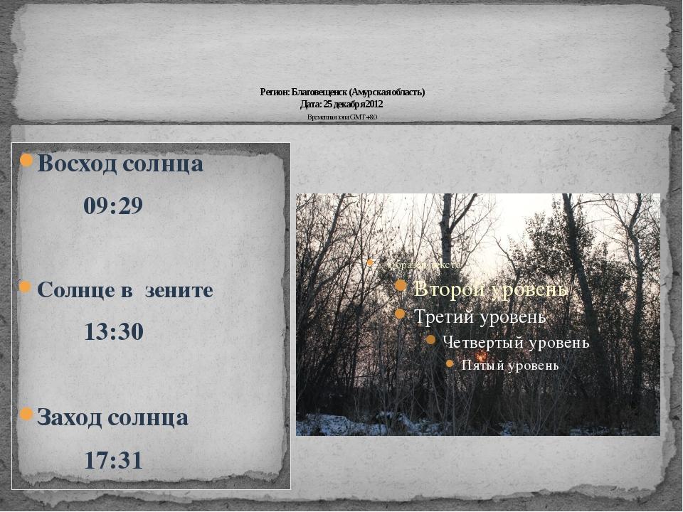 Регион: Благовещенск (Амурская область) Дата: 25 декабря 2012 Временная зона...