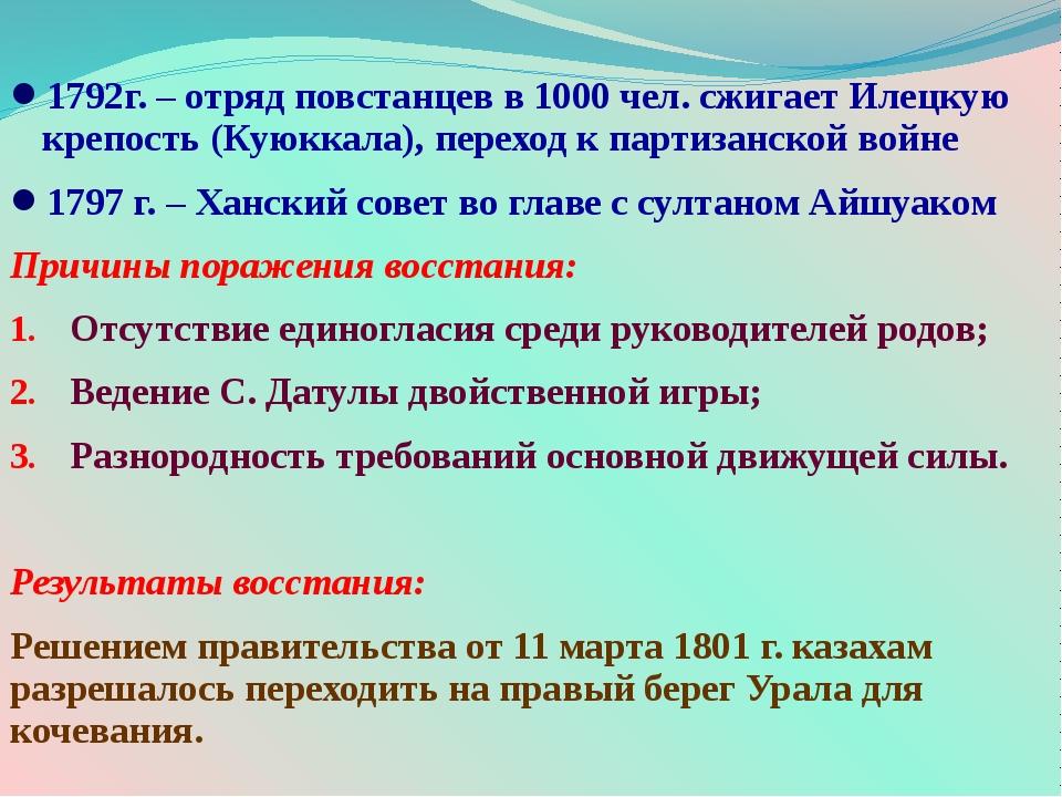 1792г. – отряд повстанцев в 1000 чел. сжигает Илецкую крепость (Куюккала), пе...