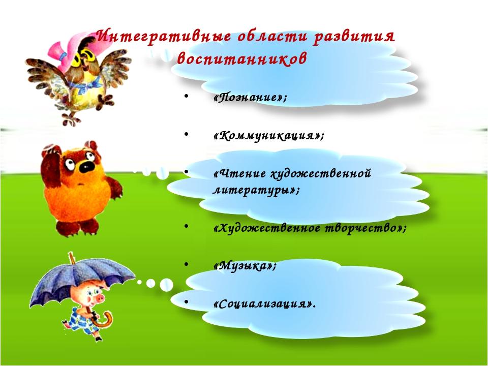 Интегративные области развития воспитанников  «Познание»;  «Коммуникация»;...