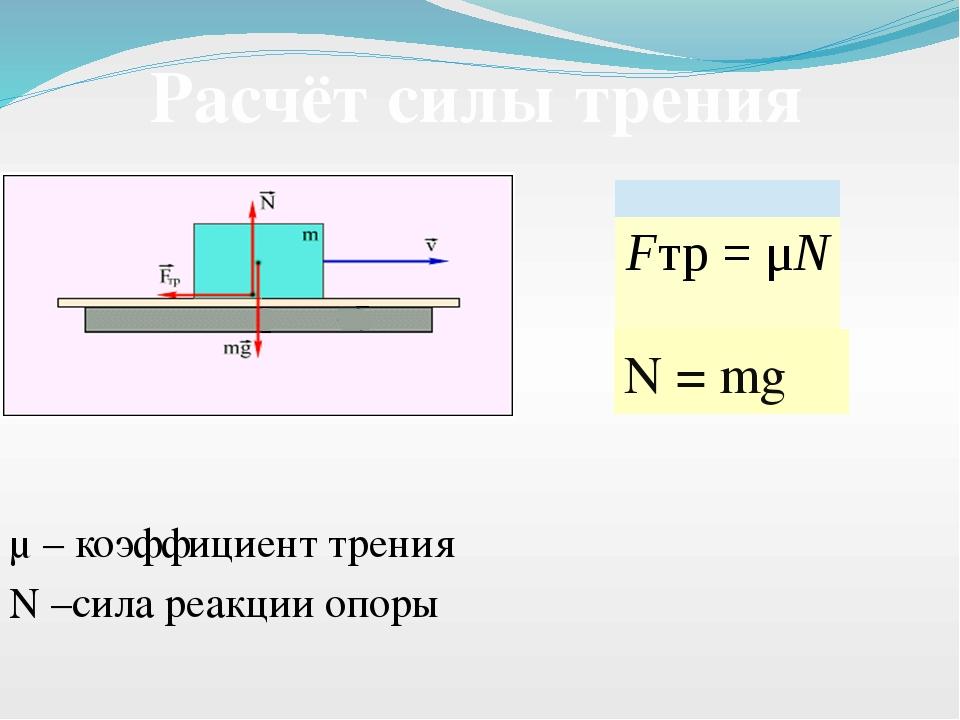 μ – коэффициент трения N = mg N –сила реакции опоры Расчёт силы трения Fтр=...