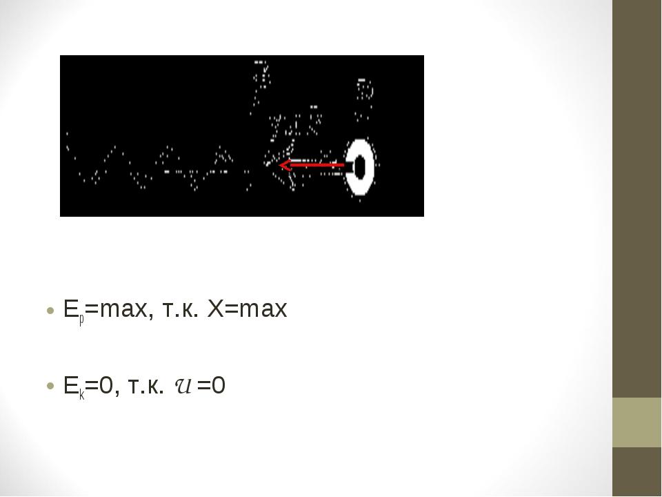 Ер=max, т.к. X=max Ek=0, т.к. U =0
