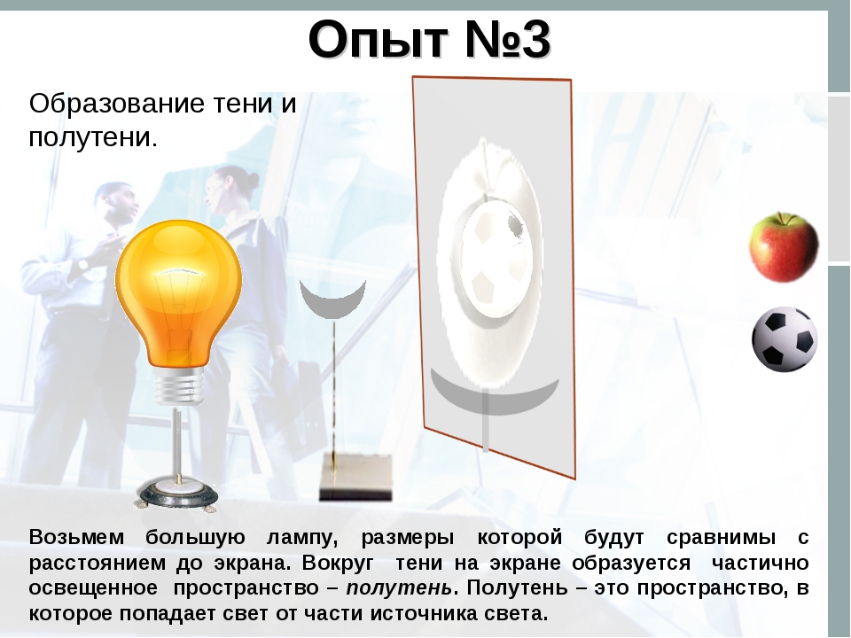 Опыт №3 Образование тени и полутени. Возьмем большую лампу, размеры которой б...