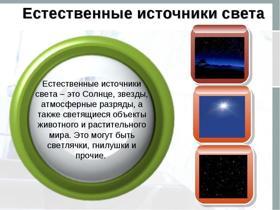 Естественные источники света Естественные источники света – это Солнце, звезд...