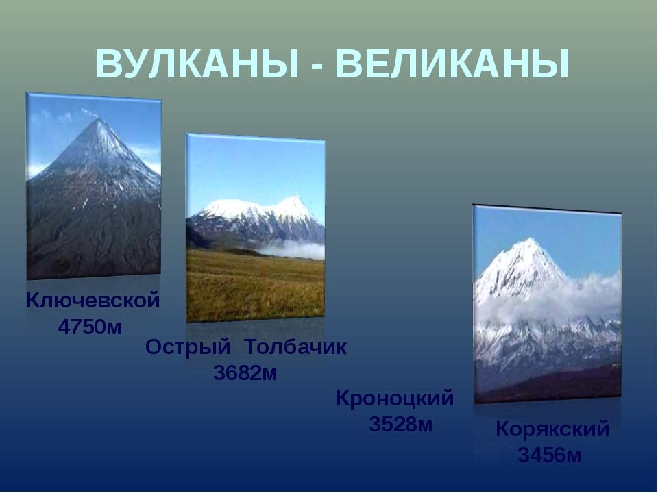 Ключевской 4750м ВУЛКАНЫ - ВЕЛИКАНЫ Острый Толбачик 3682м Корякский 3456м Кр...