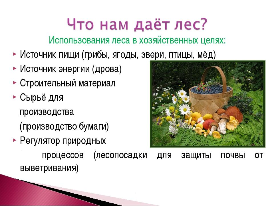 Использования леса в хозяйственных целях: Источник пищи (грибы, ягоды, звери,...