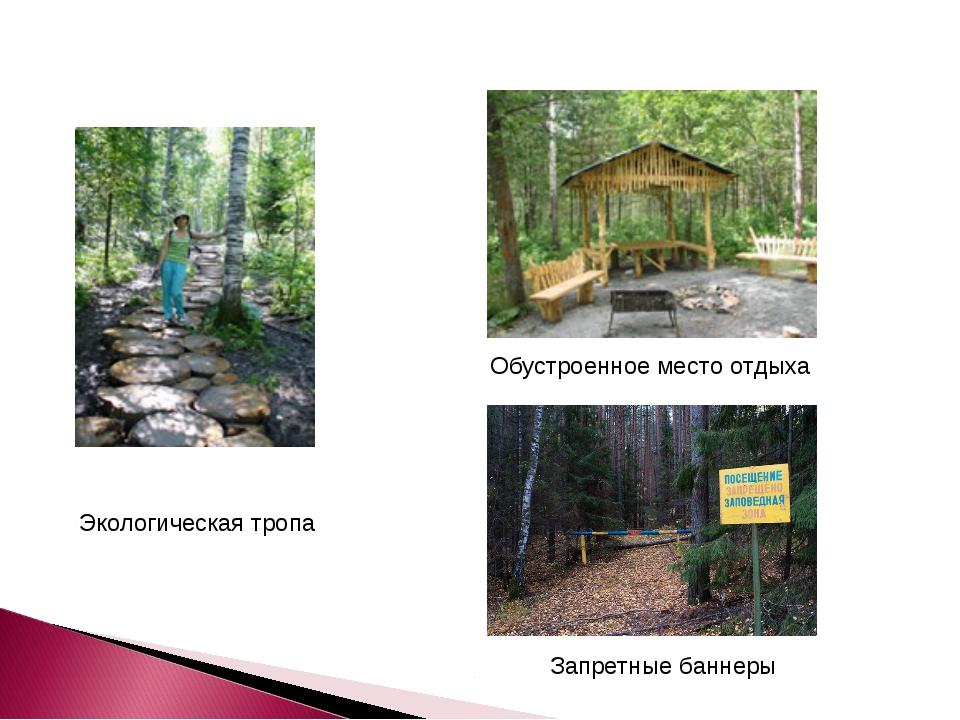 Экологическая тропа Обустроенное место отдыха Запретные баннеры