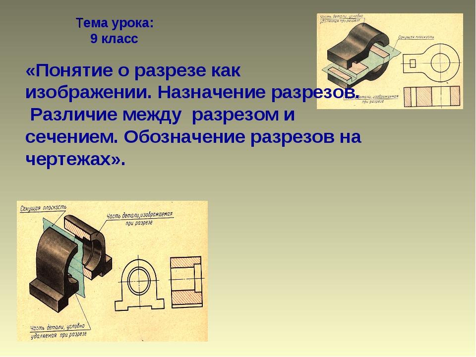 Тема урока: 9 класс «Понятие о разрезе как изображении. Назначение разрезов....