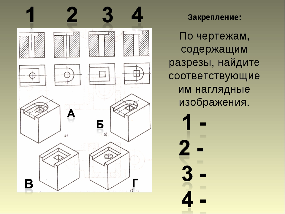 Закрепление: По чертежам, содержащим разрезы, найдите соответствующие им нагл...
