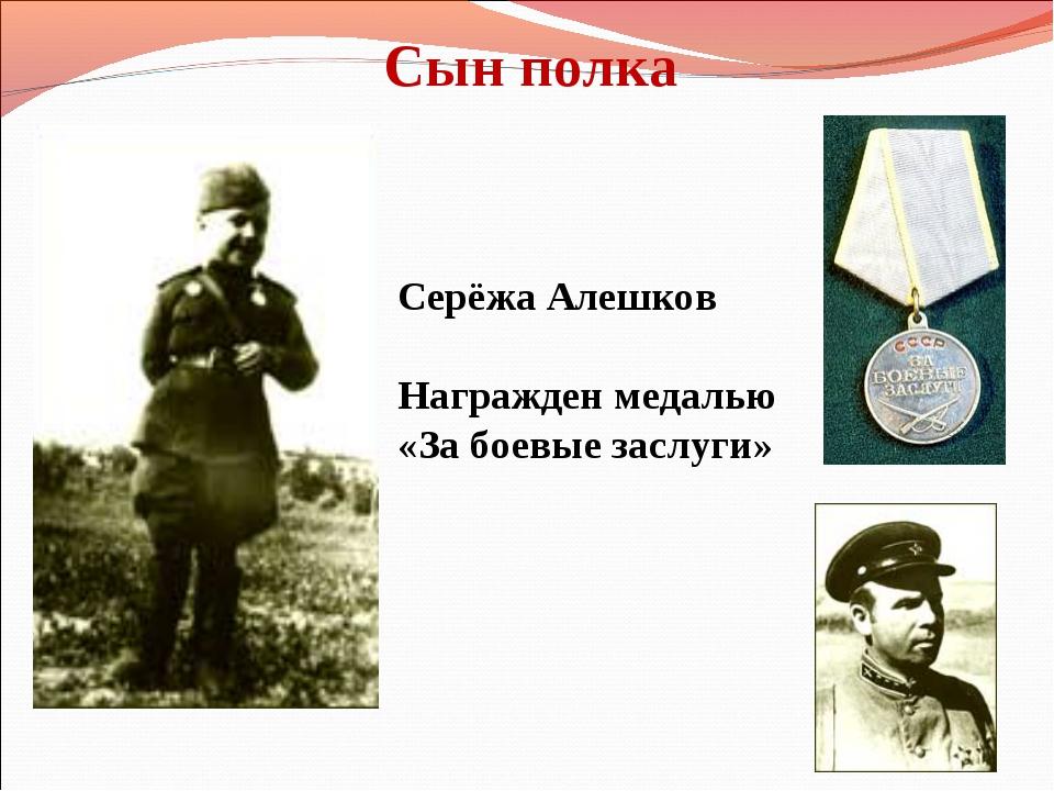 Сын полка Серёжа Алешков Награжден медалью «За боевые заслуги»