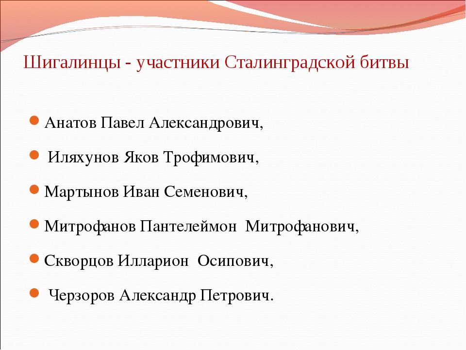 Шигалинцы - участники Сталинградской битвы Анатов Павел Александрович, Иляху...