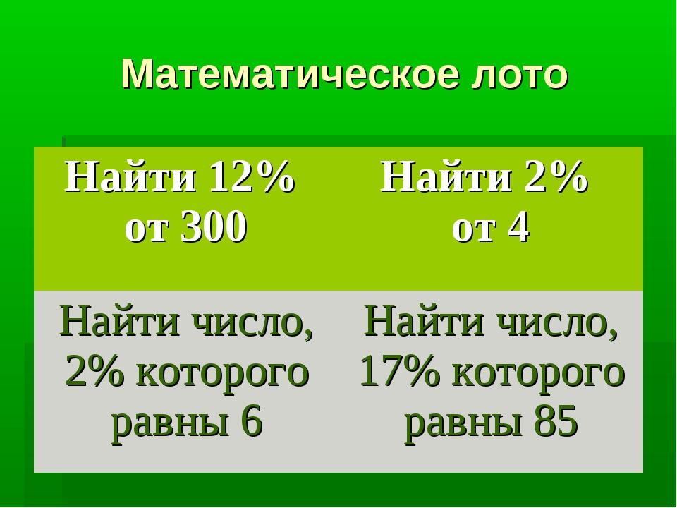 Математическое лото Найти 12% от 300Найти 2% от 4 Найти число, 2% которого р...