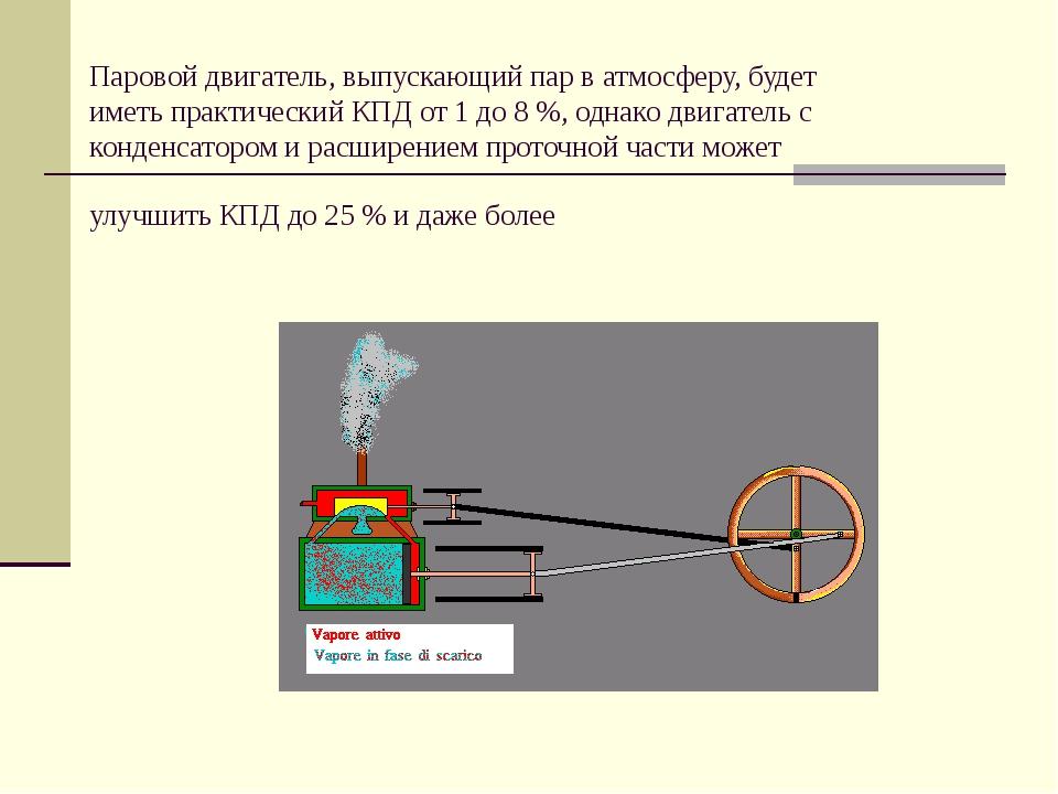 Паровой двигатель, выпускающий пар в атмосферу, будет иметь практический КПД...