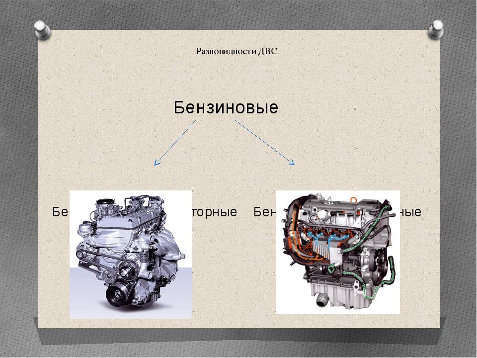 Разновидности ДВС Бензиновые Бензиновые карбюраторные Бензиновые инжекторные