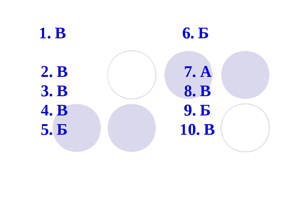 1. В 6. Б 2. В 7. А 3. В 8. В 4. В 9. Б 5. Б 10. В