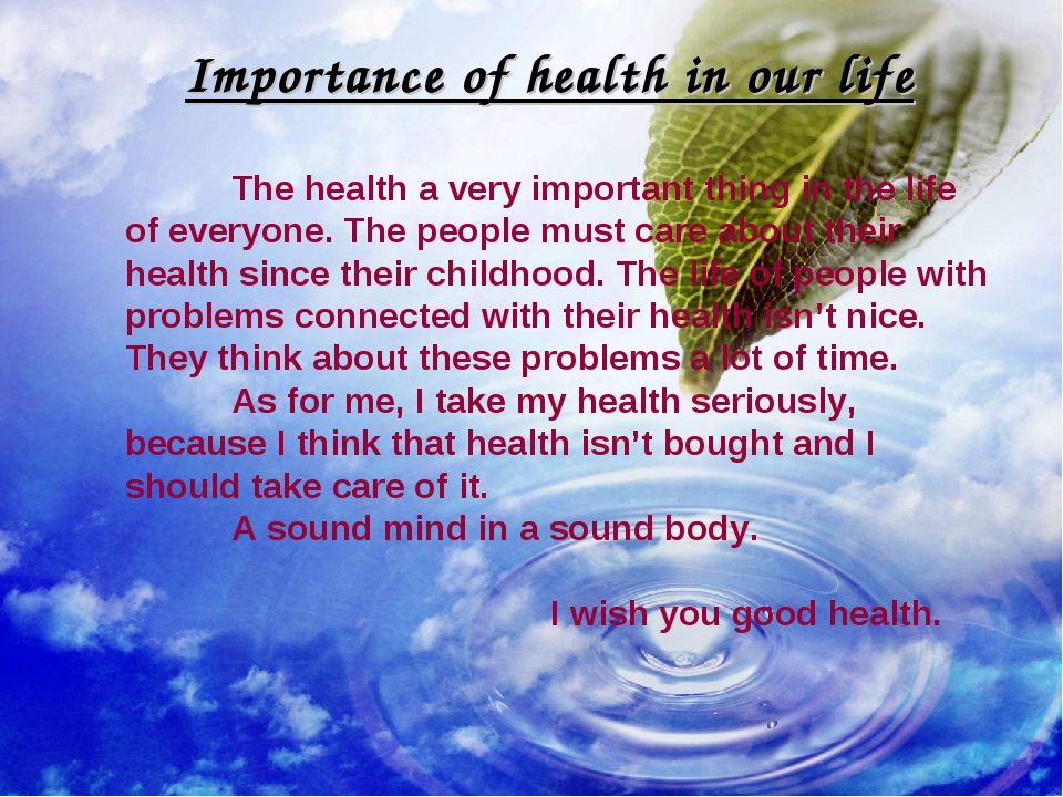 Importance of health in our life 	The health a very important thing in the li