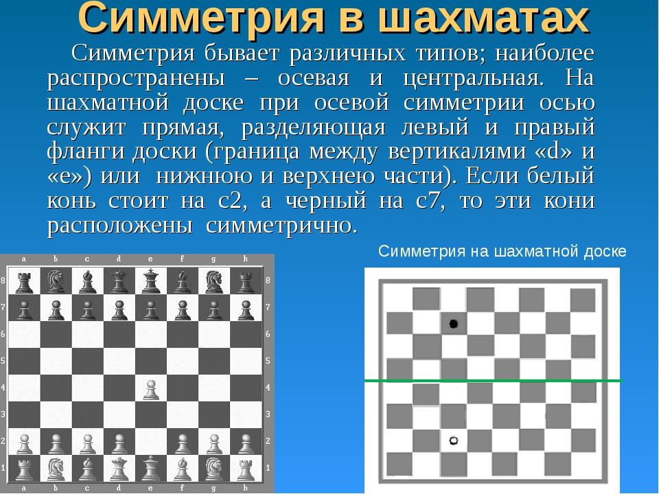 Симметрия в шахматах Симметрия бывает различных типов; наиболее распространен...