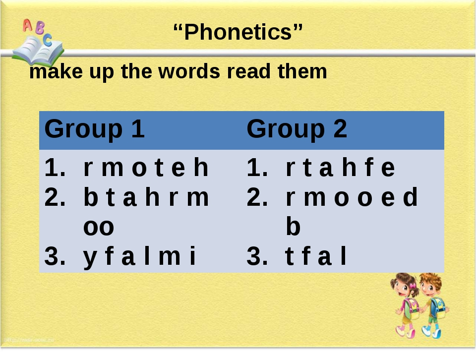 """""""Phonetics"""" make up the words read them Group 1 Group 2 r m o t e h b t a h r..."""