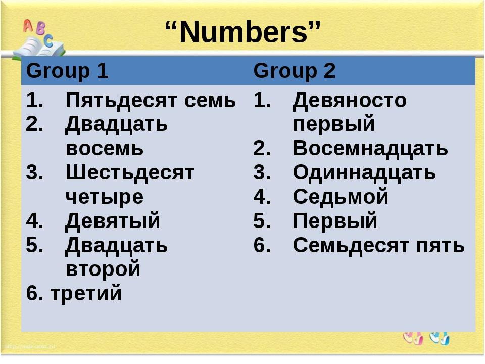"""""""Numbers"""" Group 1 Group 2 Пятьдесят семь Двадцать восемь Шестьдесят четыре Де..."""