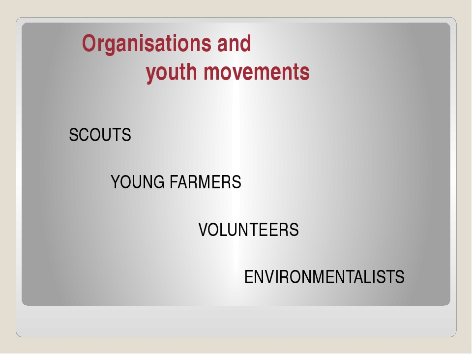 Organisations and youth movements SCOUTS YOUNG FARMERS VOLUNTEERS ENVIRONMEN...