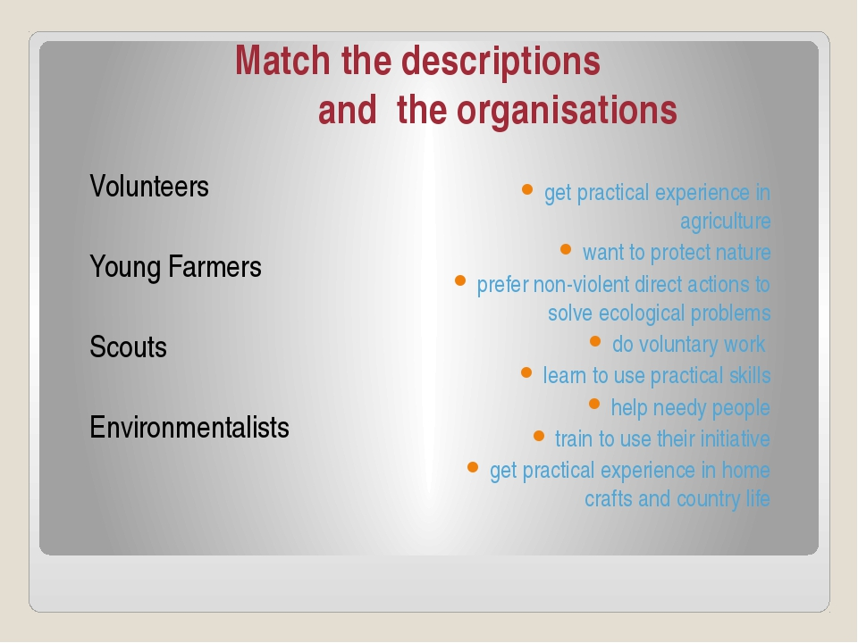 Match the descriptions and the organisations Volunteers Young Farmers Scouts...