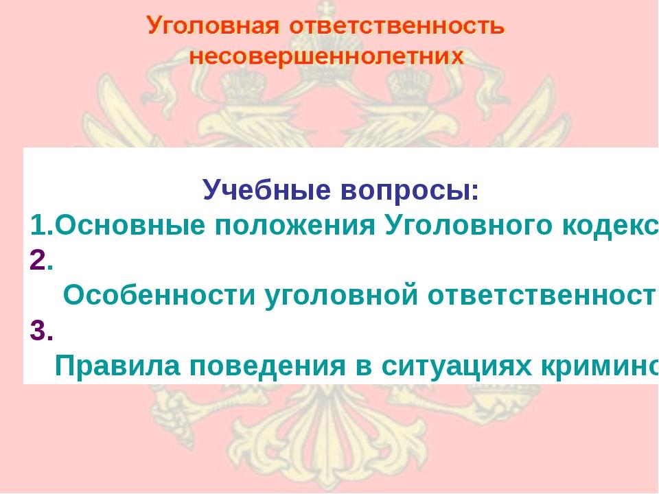 Учебные вопросы: Основные положения Уголовного кодекса Российской Федерации...