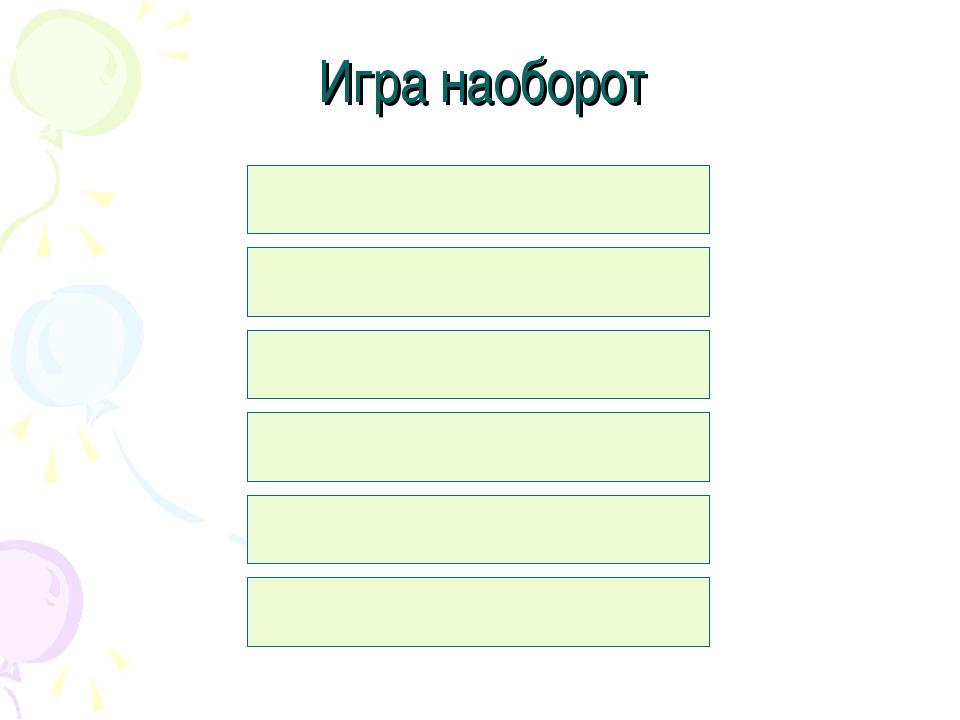 Игра наоборот Клавиатура (5) Мышь (10) Процессор (20) Сканер (40) Световое пе...