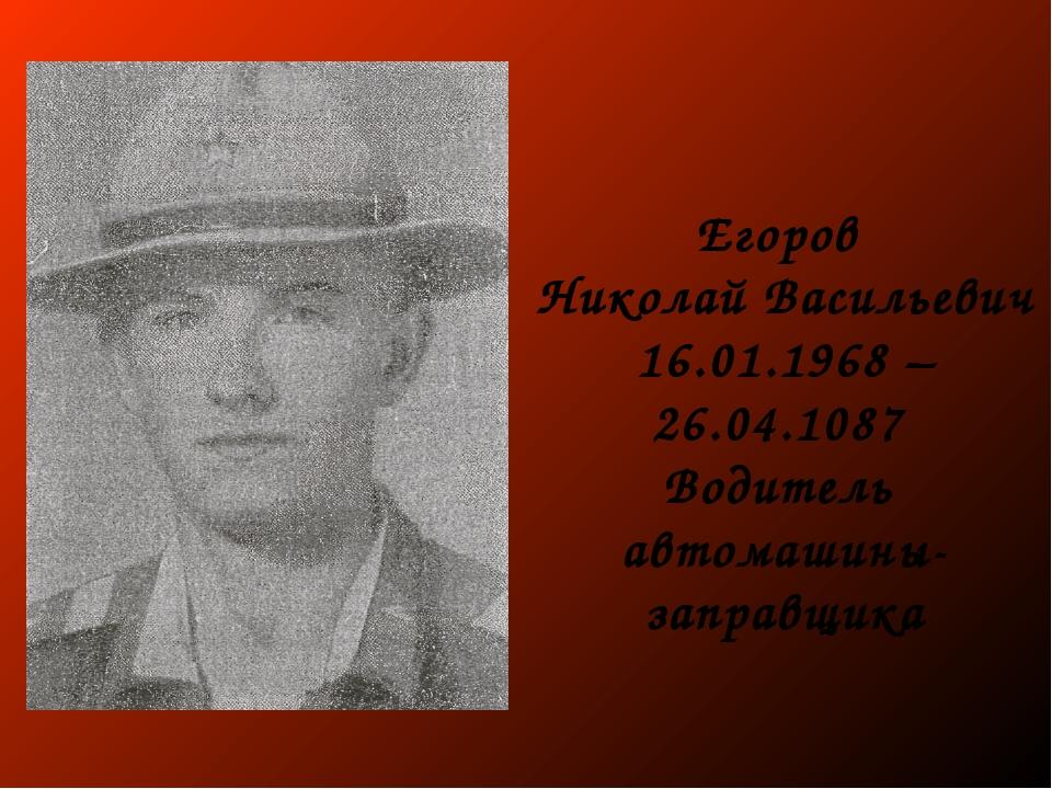 Егоров Николай Васильевич 16.01.1968 – 26.04.1087 Водитель автомашины-заправщ...