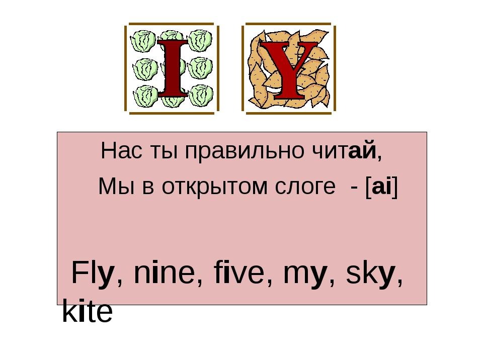 Нас ты правильно читай, Мы в открытом слоге - [ai] Fly, nine, five, my, sky,...