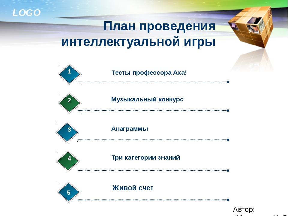 План проведения интеллектуальной игры Автор: Ибраимова М. Р. Тесты профессора...
