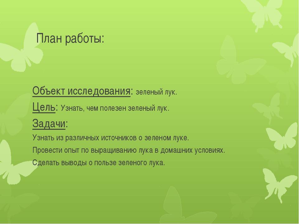 План работы: Объект исследования: зеленый лук. Цель: Узнать, чем полезен зеле...