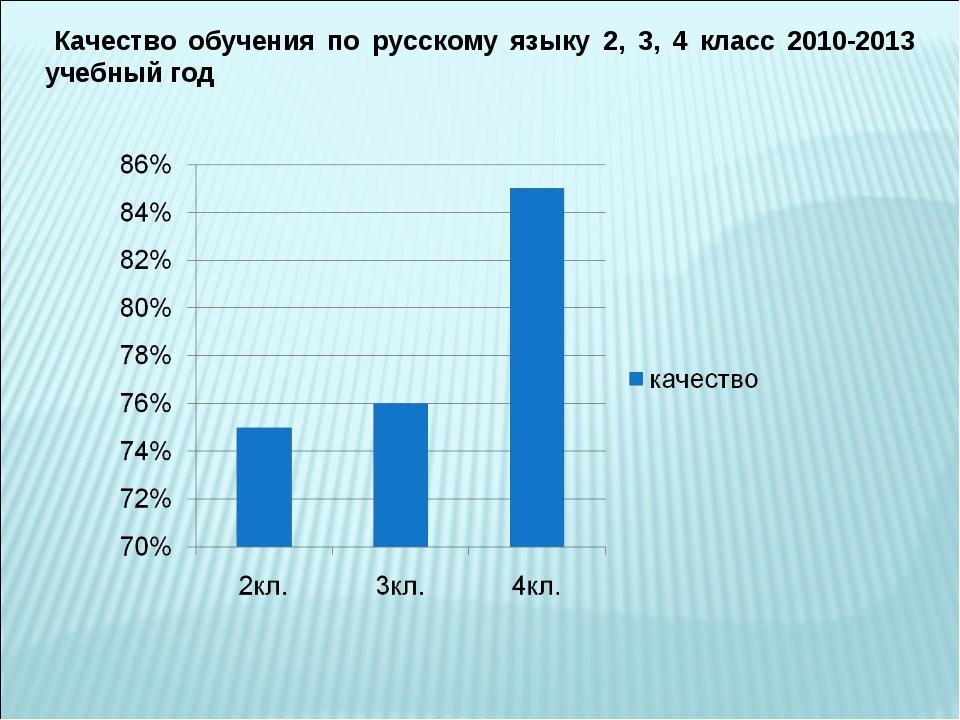 Качество обучения по русскому языку 2, 3, 4 класс 2010-2013 учебный год