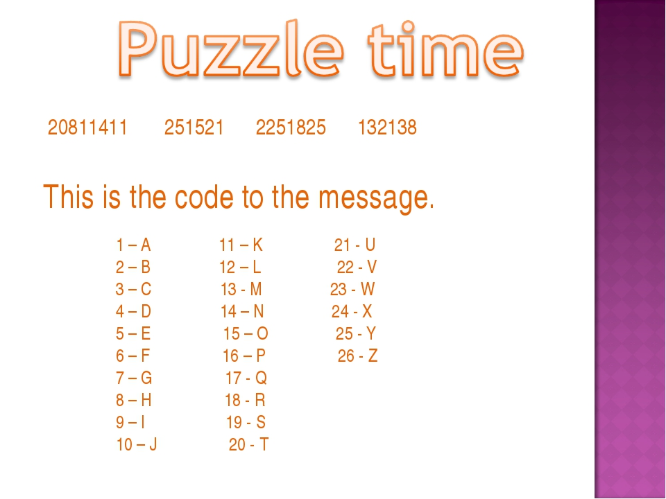 This is the code to the message. 1 – A 11 – K 21 - U 2 – B 12 – L 22 - V 3 –...