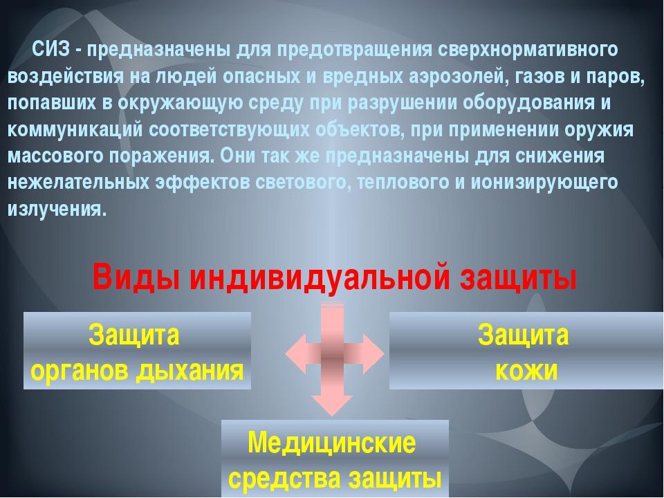 СИЗ - предназначены для предотвращения сверхнормативного воздействия на люде...