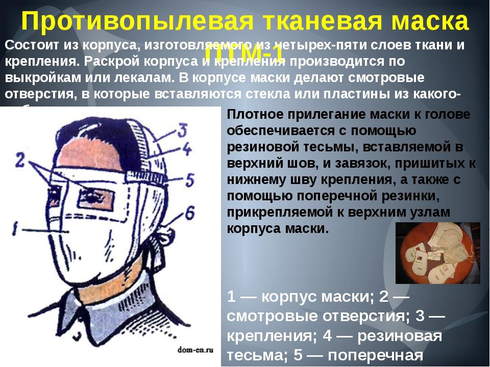 Противопылевая тканевая маска ПТМ-1 1 — корпус маски; 2 — смотровые отверстия...