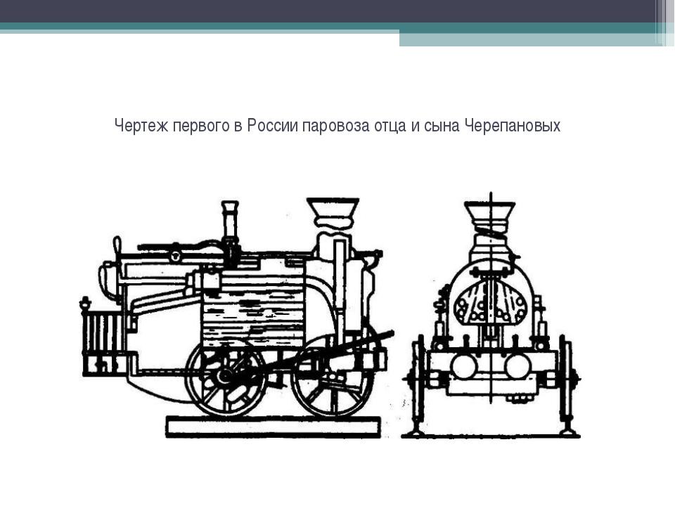 Чертеж первого в России паровоза отца и сына Черепановых