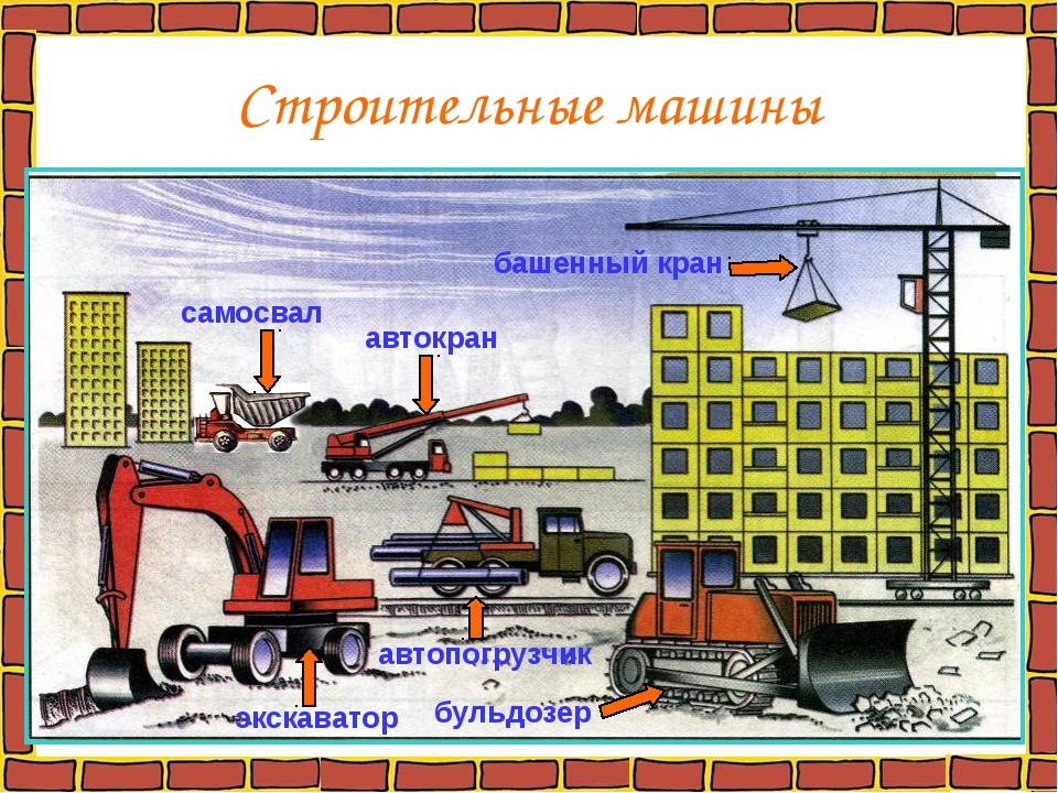 Строительные машины самосвал автокран автопогрузчик экскаватор бульдозер баше...